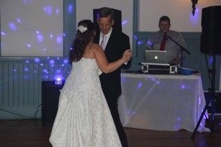 Father daughter dance, and we'll blame the Photographer for the DJ photobomb!