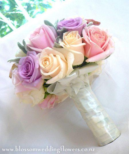pastel roses bridal bouquet