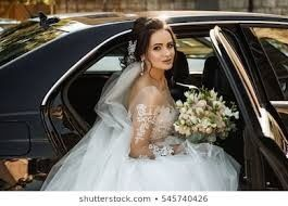 Bride in Black Stretch Limo