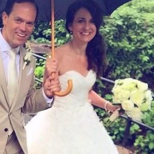 Couple underneath an umbrella
