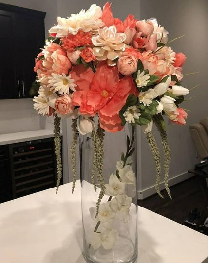 Coral tall centerpiece