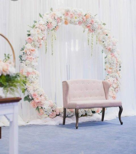 Light pink circular backdrop