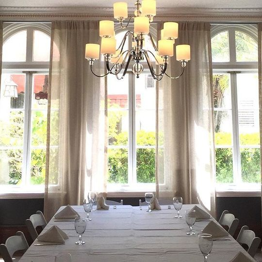 Chandelier above the table