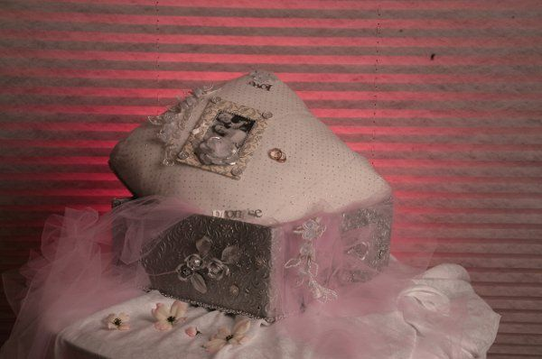 This is a memory box. The lid is stuffed with batting, covered with linen and covered again with...