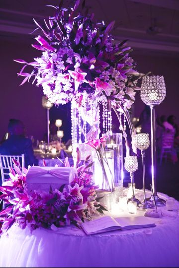 Table with decorated centerpiece