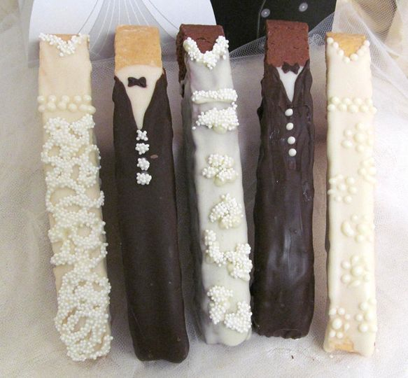 Bride & Groom Biscotti Cookies hand-decorated on a vanilla or chocolate twice-baked Italian cookie...