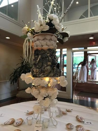 escort table seashell centerpiece