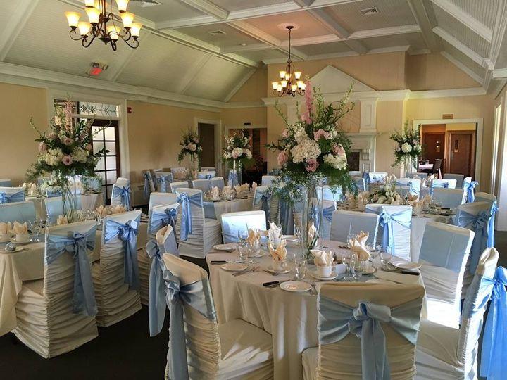 Baby blue reception decor