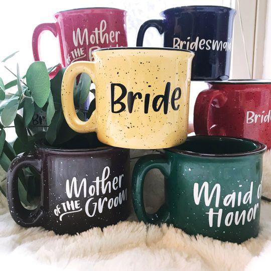 Custom wedding party mugs