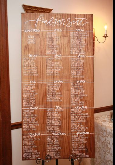 Wood seating chart