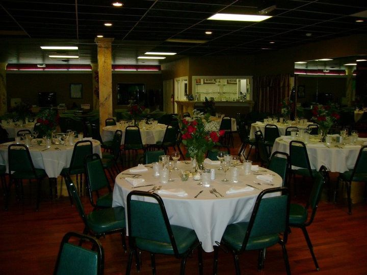 Tables and chairs for up to 250 guests included with each private party rental.  White table cloths...