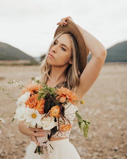 A bride and her flowers
