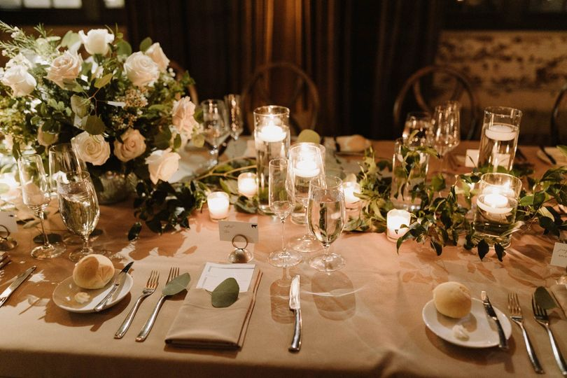Candlelit table setting