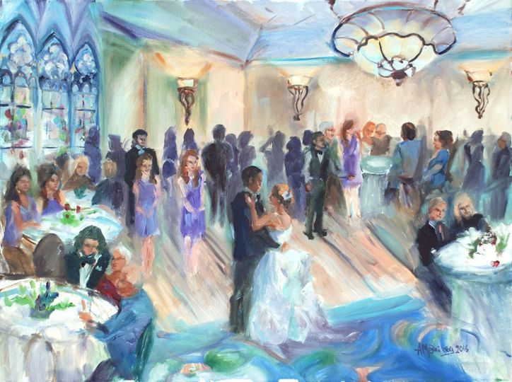 A beautiful reception, as painted at the desoto hilton savannah ballroom, after a cathedral wedding....