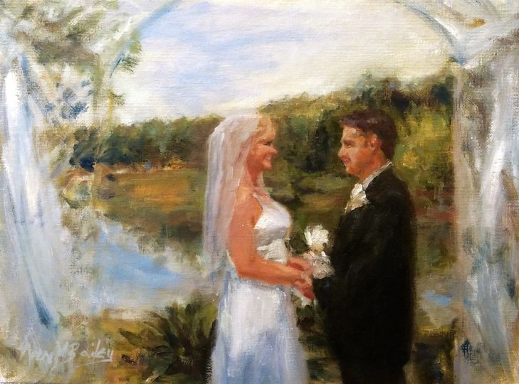 "This small painting perfectly captures the intimacy of their special day. The outdoor ""altar"" arch..."