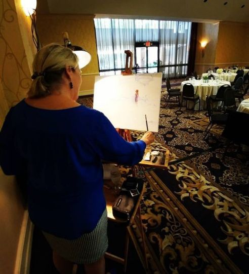 Early start to the First Dance painting at Desoto Hilton Ballroom
