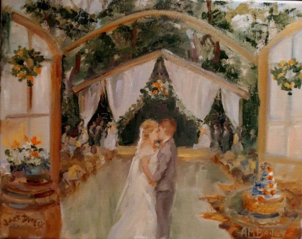 Your First Kiss live event wedding painting shows the happy, intimate moment in your wedding...