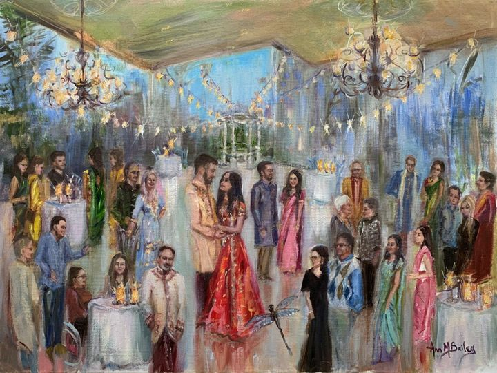 Tmx Live Painting Wedding Rehearsal Party Collen And Rachel 2020 Celebration In Traditional Indian Wedding Attire Wedding Painting By Ann Bailey Art 51 928311 158882491999082 Roswell, GA wedding favor