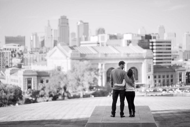 Skyline engagement photo