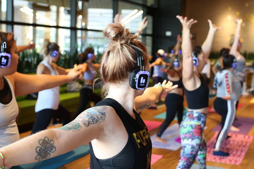 Silent disco for yoga