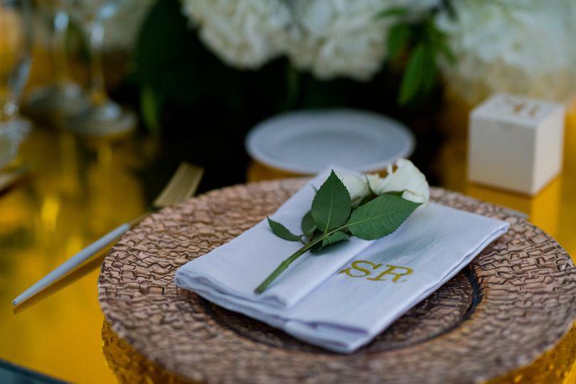 Rose and menu card