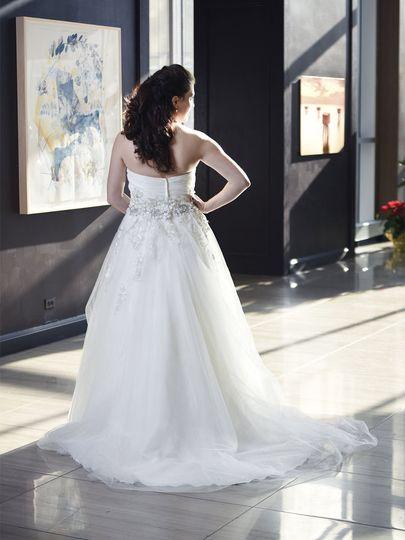 Bride looking far