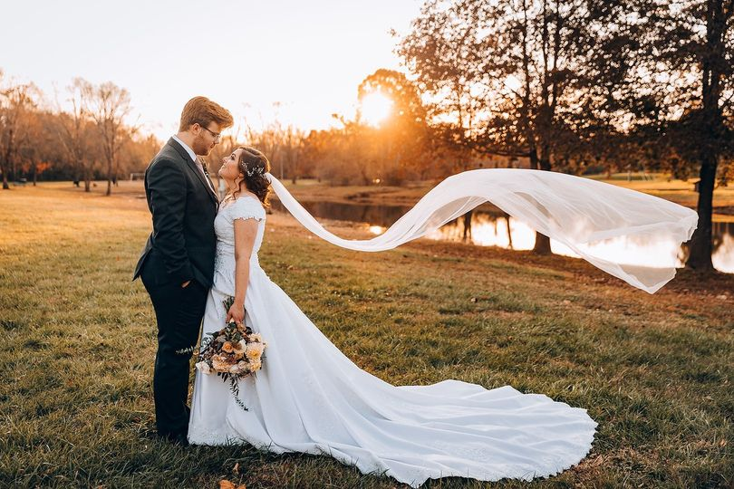 Bride and Groom in Nearby Park