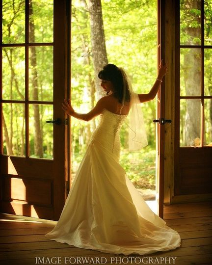 Reception hall doors with bride
