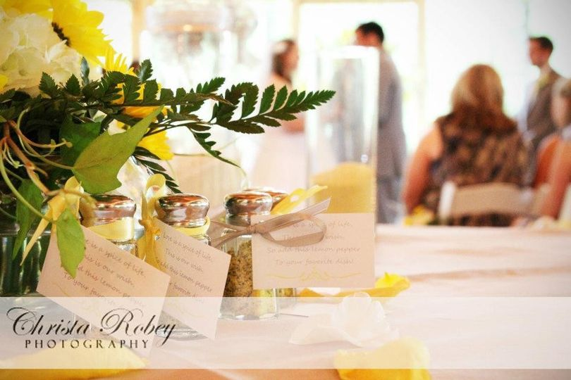 Special touches for the reception