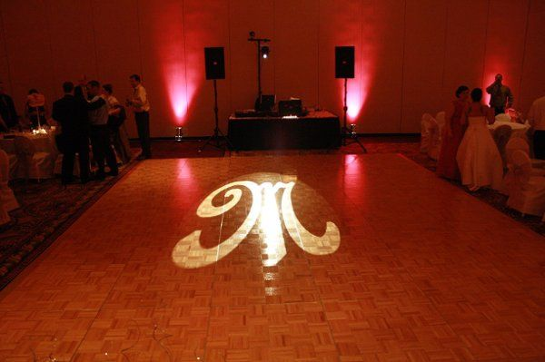 Monogram and pink uplighting Black Tie Entertainment