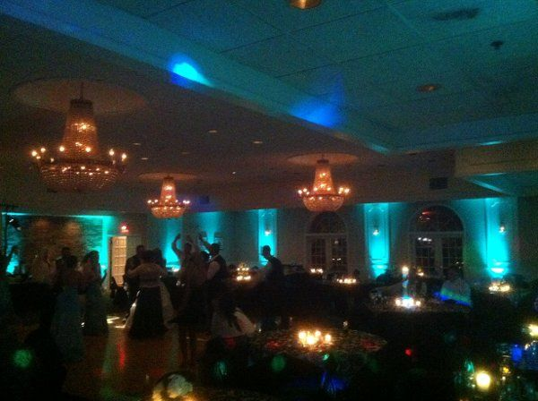 Justin's Grill, Syracuse, NY teal uplighting by Black Tie Entertainment DJ Photo Booths