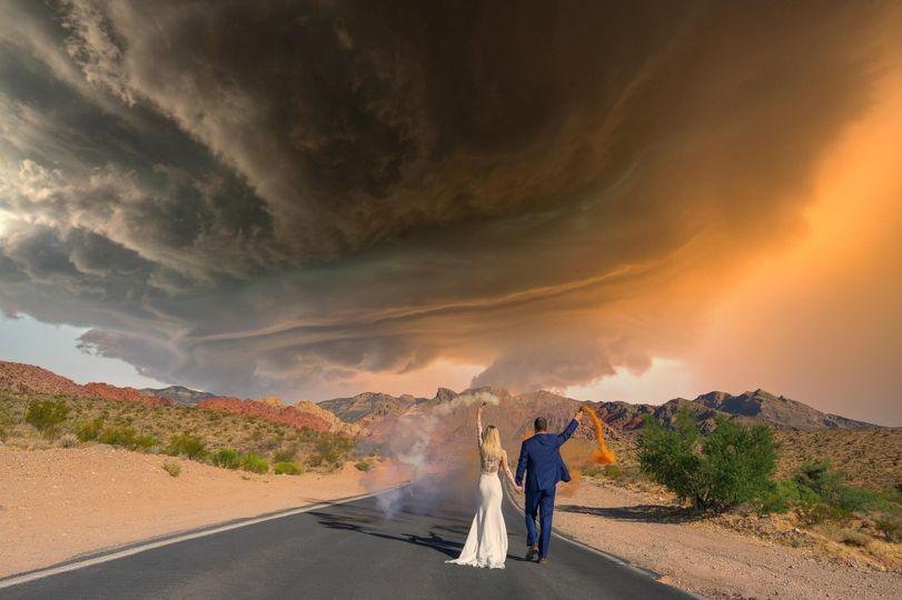 Newlywed Couple Walking on the