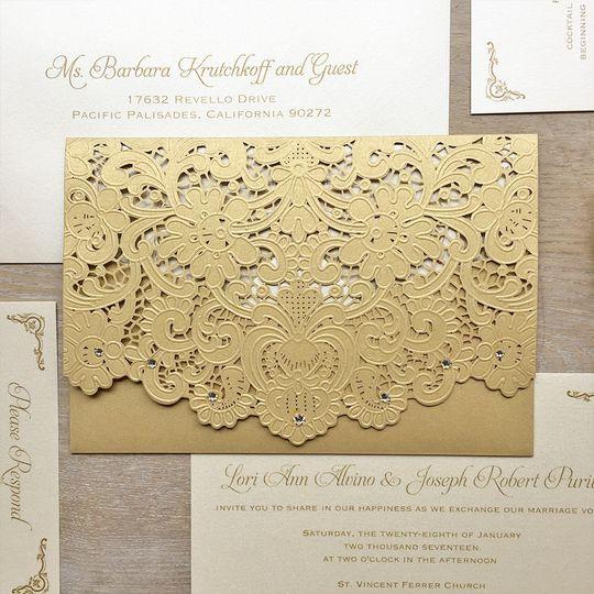 lori gold laser cut invitation1
