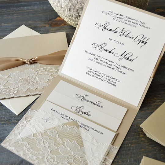 paper & lace - invitations - ft. lauderdale, fl - weddingwire, Wedding invitations
