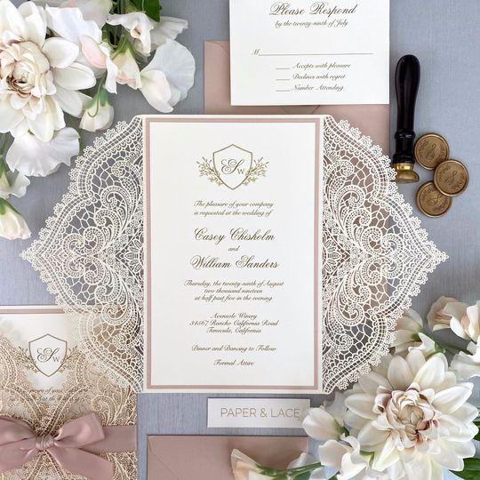 Ivory and Blush Chantilly Lace