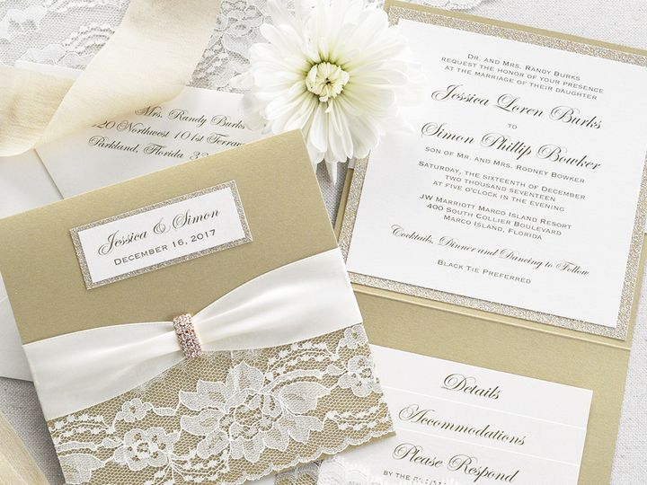Tmx 1509053967917 Ivory And Gold Square Wedding Invitation Fort Lauderdale, FL wedding invitation