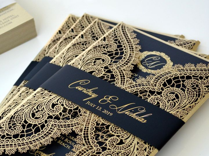 Tmx Courtney Black And Gold Chantilly 51 722511 Fort Lauderdale, FL wedding invitation