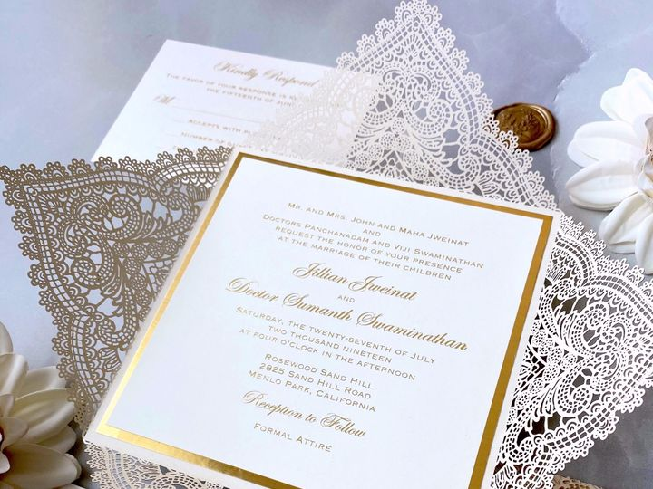 Tmx Gold Foil Chantilly Lace Laser Cut Invitation 51 722511 159296859799588 Fort Lauderdale, FL wedding invitation