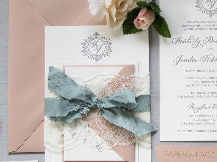 Tmx Kimberly Blush And Dusty Blue Letterpress Invitation Suite 51 722511 Fort Lauderdale, FL wedding invitation