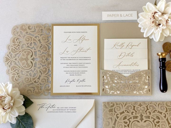 Tmx Laser Cut And Gold Foil Invitation Suite 51 722511 159296861173184 Fort Lauderdale, FL wedding invitation