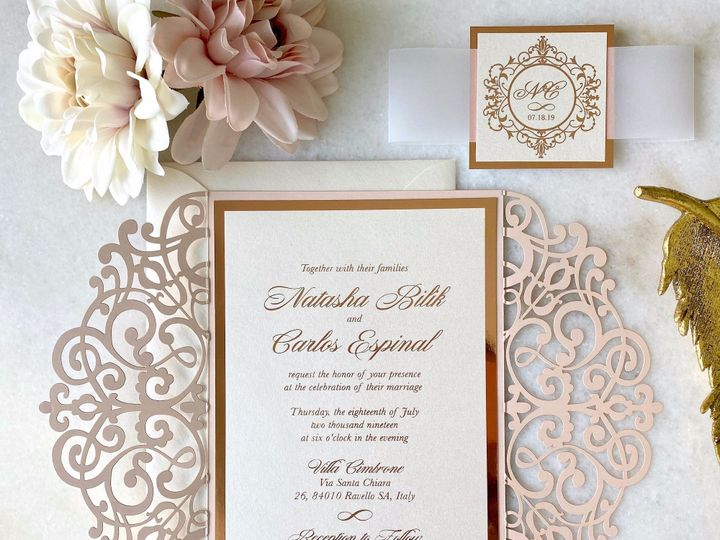 Tmx Rose Gold Foil And Blush Laser Cut Invitation Belly Band 51 722511 159296863291490 Fort Lauderdale, FL wedding invitation