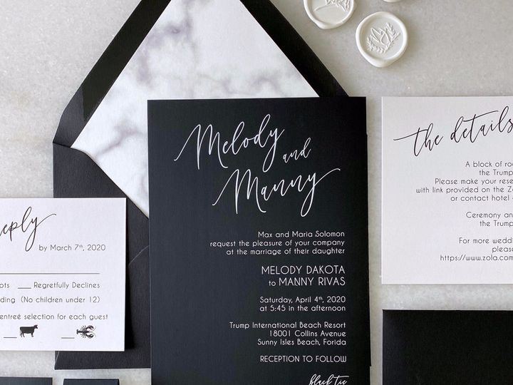Tmx White Ink On Black With Marble Liner 51 722511 159296851512268 Fort Lauderdale, FL wedding invitation