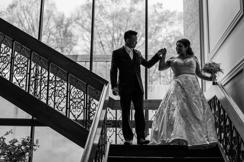 Couple walking down the stair