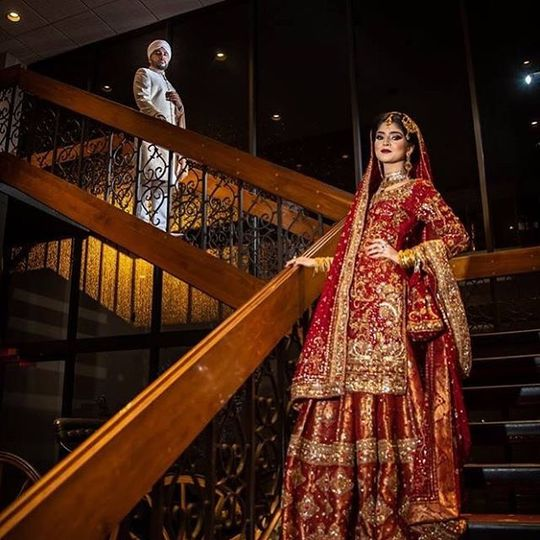 Gorgeous bride on stairwell