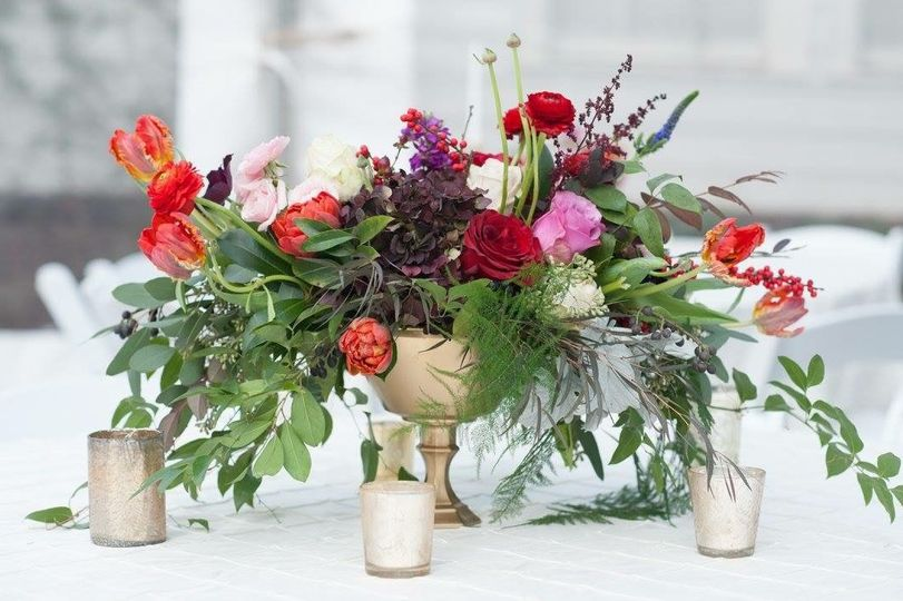 Centerpiece and candles