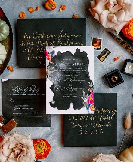 Dark Glam Wedding Invites