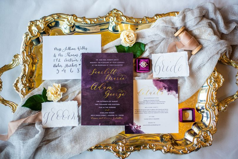 Custom purple invitation suite