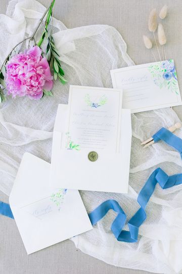 Custom watercolor invitations