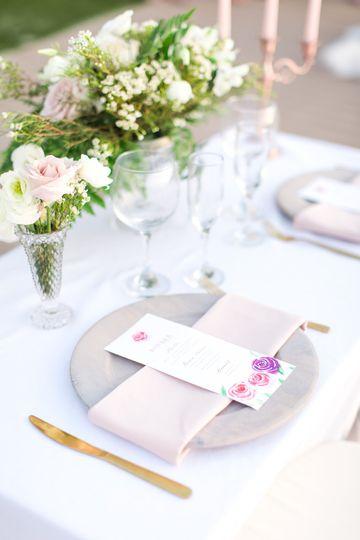 Watercolor floral menu