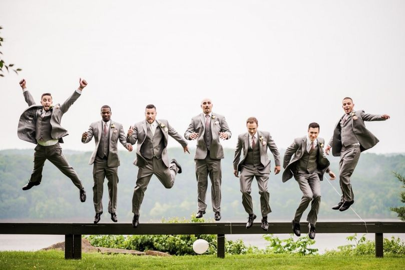 The groomsmen having fun